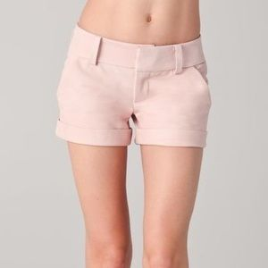 alice + olivia pink leather Cady cuffed shorts.